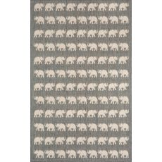 "Liora Manne Terrace Elephants Indoor/Outdoor Rug - Silver, 39"" By 59"""