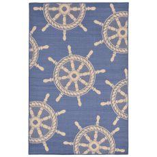 "Liora Manne Terrace Shipwheel Indoor/Outdoor Rug - Blue, 4'10"" by 7'6"""