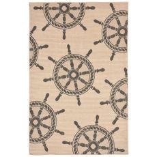 "Liora Manne Terrace Shipwheel Indoor/Outdoor Rug - Natural, 7'10"" by 9'10"""