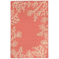 "Liora Manne Terrace Coral Bdr Indoor/Outdoor Rug - Orange, 39"" by 59"""