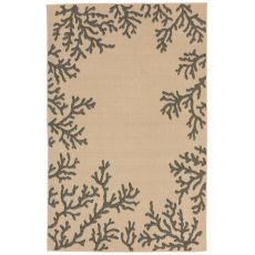"Liora Manne Terrace Coral Bdr Indoor/Outdoor Rug - Natural, 7'10"" by 9'10"""