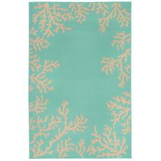 "Liora Manne Terrace Coral Bdr Indoor/Outdoor Rug - Blue, 4'10"" by 7'6"""