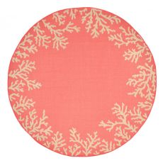 "Liora Manne Terrace Coral Bdr Indoor/Outdoor Rug - Orange, 7'10"" By 7'10"""