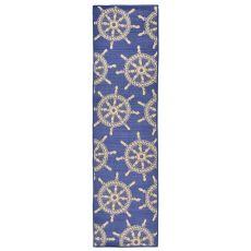 "Liora Manne Terrace Shipwheel Indoor/Outdoor Rug - Blue, 23"" by 7'6"""