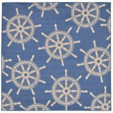 "Liora Manne Terrace Shipwheel Indoor/Outdoor Rug - Blue, 7'10"" by 7'10"""