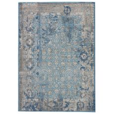 Modern Vintage Look Pattern Blue Polyester Area Rug ( 9X12)