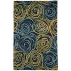 Liora Manne Tivoli Rambling Rose Indoor Rug - Navy, 5' By 8'