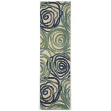 "Liora Manne Tivoli Rambling Rose Indoor Rug - Blue, 27"" By 8'"