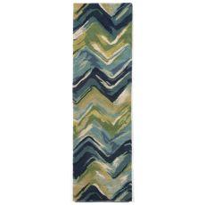 """Liora Manne Tivoli Chevron Indoor Rug - Blue, 27"""" By 8'"""