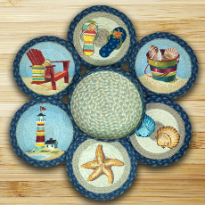 By The Sea Trivet Set In Basket