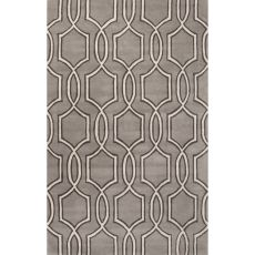 Contemporary Trellis, Chain And Tile Pattern Gray/Ivory Wool Area Rug (8X11)