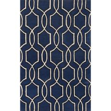 Contemporary Trellis, Chain And Tile Pattern Blue/Ivory Wool Area Rug (8X11)