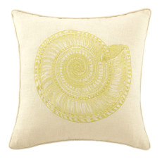 Trochus Shell In Gold Embroidered Pillow