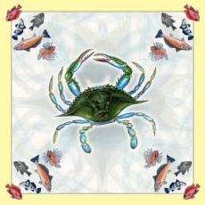 Crab and Assorted Fish Square Table Cloth
