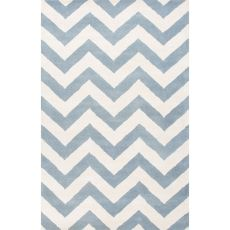 Contemporary Chevrons Pattern Blue/Ivory  Wool Area Rug (8X11)