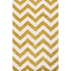 Contemporary Chevrons Pattern Green/Ivory  Wool Area Rug (8X11)