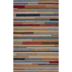 Contemporary Abstract Pattern Blue/Red Wool Area Rug (9x13)