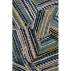 Contemporary Abstract Pattern Blue Wool Area Rug (9x13)