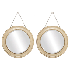 Tan Bevelled Mirror Set of 2