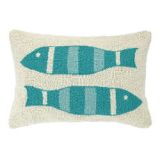 Turquise Picket Fish Hook Pillow