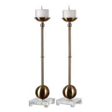 Uttermost Laton Brass Candleholders S/2