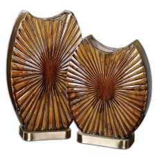 Uttermost Zarina Marbled Ceramic Vases S/2
