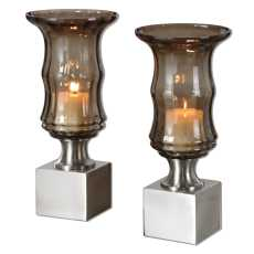 Uttermost Araby Smoked Glass Candleholders, S/2
