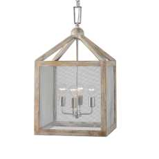 Uttermost Nashua 4 Light Wooden Lantern Pendant
