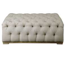 Uttermost Kaniel Tufted Antique White Ottoman