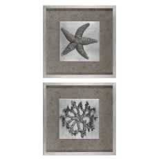 Uttermost Starfish & Coral Shadow Box Art, S/2
