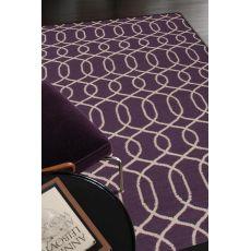 Flatweave Trellis, Chain And Tile Pattern Purple/Ivory Wool Area Rug (8X10)