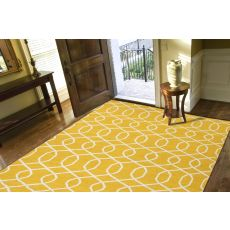 Flatweave Trellis, Chain And Tile Pattern Yellow/Ivory Wool Area Rug (8X10)