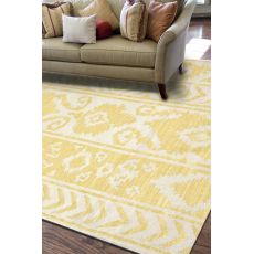 Flatweave Tribal Pattern Yellow/Ivory Wool Area Rug (9X12)