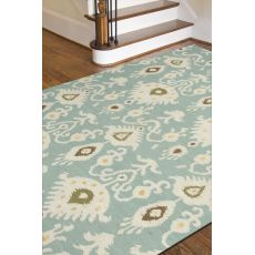 Flatweave Oriental Pattern Blue/Ivory Wool Area Rug (9X12)