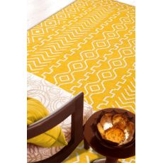 Flatweave Tribal Pattern Yellow/Ivory Wool Area Rug (8X10)
