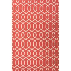 Flatweave Trellis, Chain And Tile Pattern Red/Ivory  Wool Area Rug (8X10)