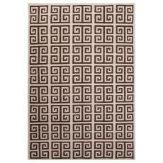 Flatweave Trellis, Chain And Tile Pattern Ivory/Brown Wool Area Rug (9X12)