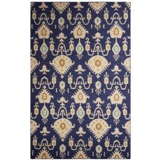Flatweave Tribal Pattern Blue/Ivory Wool Area Rug (9X12)