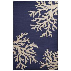 Flatweave Coastal Pattern Blue/Ivory Wool Area Rug (9X12)