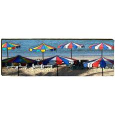 Beach Umbrellas Wood wall Art