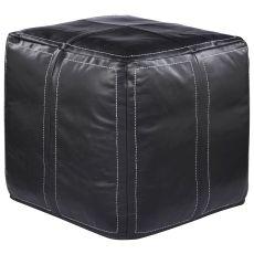 """Brown Leather Pouf (18""""X18""""X18"""")"""