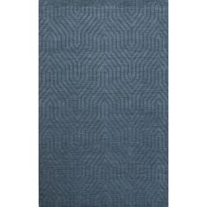 Solids Tribal Pattern Blue Wool Area Rug (8X11)
