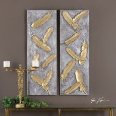 Uttermost Falling Feathers Gold Wall Art Set/2