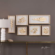 Uttermost Golden Leaves Shadow Box Set/6