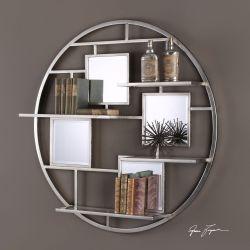 Zaria Mirrored Round Wall Shelf