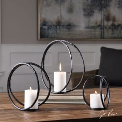 Pina Curved Metal Candleholders S/3