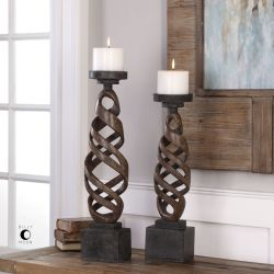 Abrose Rust Candleholders S/2