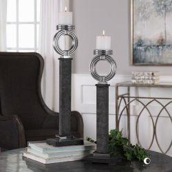Docia Charcoal Candleholders S/2