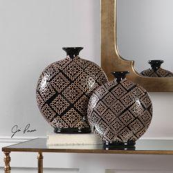 Kelda Black Ceramic Vases S/2