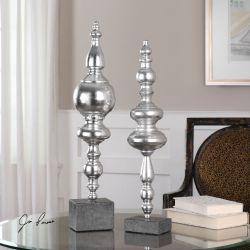 Jeni Metallic Silver Finials S/2